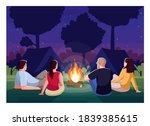 camping at night semi flat... | Shutterstock .eps vector #1839385615