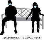 black silhouettes of people...   Shutterstock .eps vector #1839387445