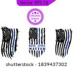 thin blue line us flag. flag... | Shutterstock .eps vector #1839437302