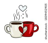 vector cute coffee or tea cups... | Shutterstock .eps vector #1839452905
