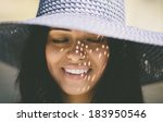 happy smiling girl wearing a... | Shutterstock . vector #183950546