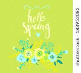 vector card  with floral... | Shutterstock .eps vector #183952082