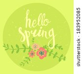 vector card  with floral... | Shutterstock .eps vector #183952085