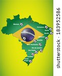 brazil flag map background with ... | Shutterstock .eps vector #183952586