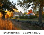 Small photo of Concord, Massachusetts - October 18, 2020: The Old Manse house on a sunny fall day. The house is a historic manse in Concord, MA, famous for its American historical and literary associations.