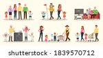 set of happy family people...   Shutterstock .eps vector #1839570712