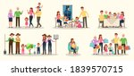 set of happy family people... | Shutterstock .eps vector #1839570715
