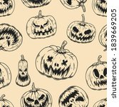 seamless pattern with scary... | Shutterstock . vector #1839669205