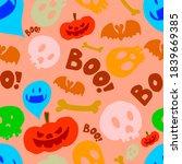 seamless pattern with halloween ... | Shutterstock . vector #1839669385