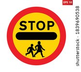 stop children crossing ahead...   Shutterstock .eps vector #1839690538