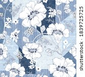 seamless  denim patchwork on... | Shutterstock .eps vector #1839725725