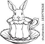 cute bunny teacup drawing vector   Shutterstock .eps vector #1839798268