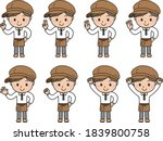 various pose sets of smiling... | Shutterstock .eps vector #1839800758