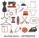 sewing and needlework icons | Shutterstock .eps vector #183980096