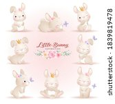 cute doodle bunny poses with...   Shutterstock .eps vector #1839819478