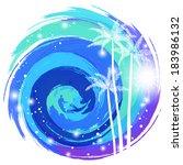 vortex of cool sea | Shutterstock .eps vector #183986132