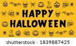 halloween yellow poster banner... | Shutterstock .eps vector #1839887425