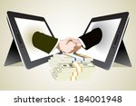 money and two computer tablet... | Shutterstock . vector #184001948