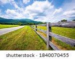Farm Road Fence Closeup In...