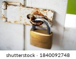 A Rusty Old Gate Lock With A...