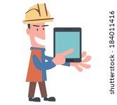 happy engineer using tablet | Shutterstock .eps vector #184011416