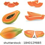 Set Of Isolated Colored Papaya  ...