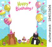 happy birthday card background... | Shutterstock .eps vector #184013606