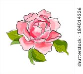 beautiful pink rose. stylized... | Shutterstock .eps vector #184014326