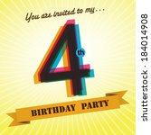 4th birthday party invite  ...   Shutterstock .eps vector #184014908