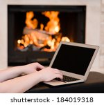 hands using laptop against the... | Shutterstock . vector #184019318