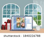 people video call conference on ... | Shutterstock .eps vector #1840226788