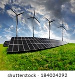 solar energy panels with wind... | Shutterstock . vector #184024292