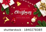 merry christmas red background... | Shutterstock .eps vector #1840278385