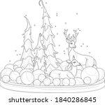 cartoon deers with christmas... | Shutterstock .eps vector #1840286845
