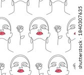 seamless pattern with women...   Shutterstock .eps vector #1840307635