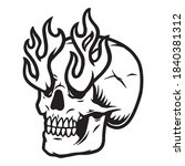 vintage tattoo of skull with... | Shutterstock .eps vector #1840381312