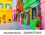 colorful architecture in burano ... | Shutterstock . vector #1840437445
