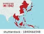 Map of Empire of Japan/Japanese Empire during WWII in 1942, showing countries within Asia, hand drawn vector map