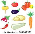set of cartoon image vegetables | Shutterstock .eps vector #184047572