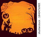 happy halloween poster vector... | Shutterstock .eps vector #1840476985