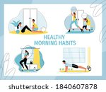 healthy morning habits set....   Shutterstock .eps vector #1840607878