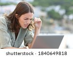 Stressed woman forcing sight...