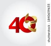 40 years anniversary ribbon... | Shutterstock .eps vector #1840659655
