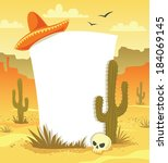 mexican background with desert  ... | Shutterstock . vector #184069145