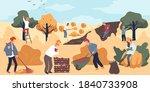 farmers gathering ripe apples ... | Shutterstock .eps vector #1840733908
