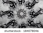tattoo design over grey... | Shutterstock . vector #184078046