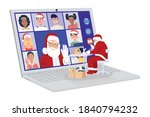 santa claus having video... | Shutterstock .eps vector #1840794232