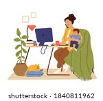 mother work from home. working... | Shutterstock .eps vector #1840811962