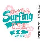 black beach surfing vector...   Shutterstock .eps vector #184082462