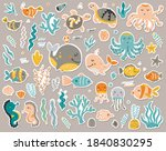 sea animals stickers collection....   Shutterstock .eps vector #1840830295